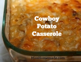 BEST Cowboy Potato Casserole you will ever eat.  Creamy, cheesy tangy love on a fork.  I could make a meal out of these....MissHomemade.com