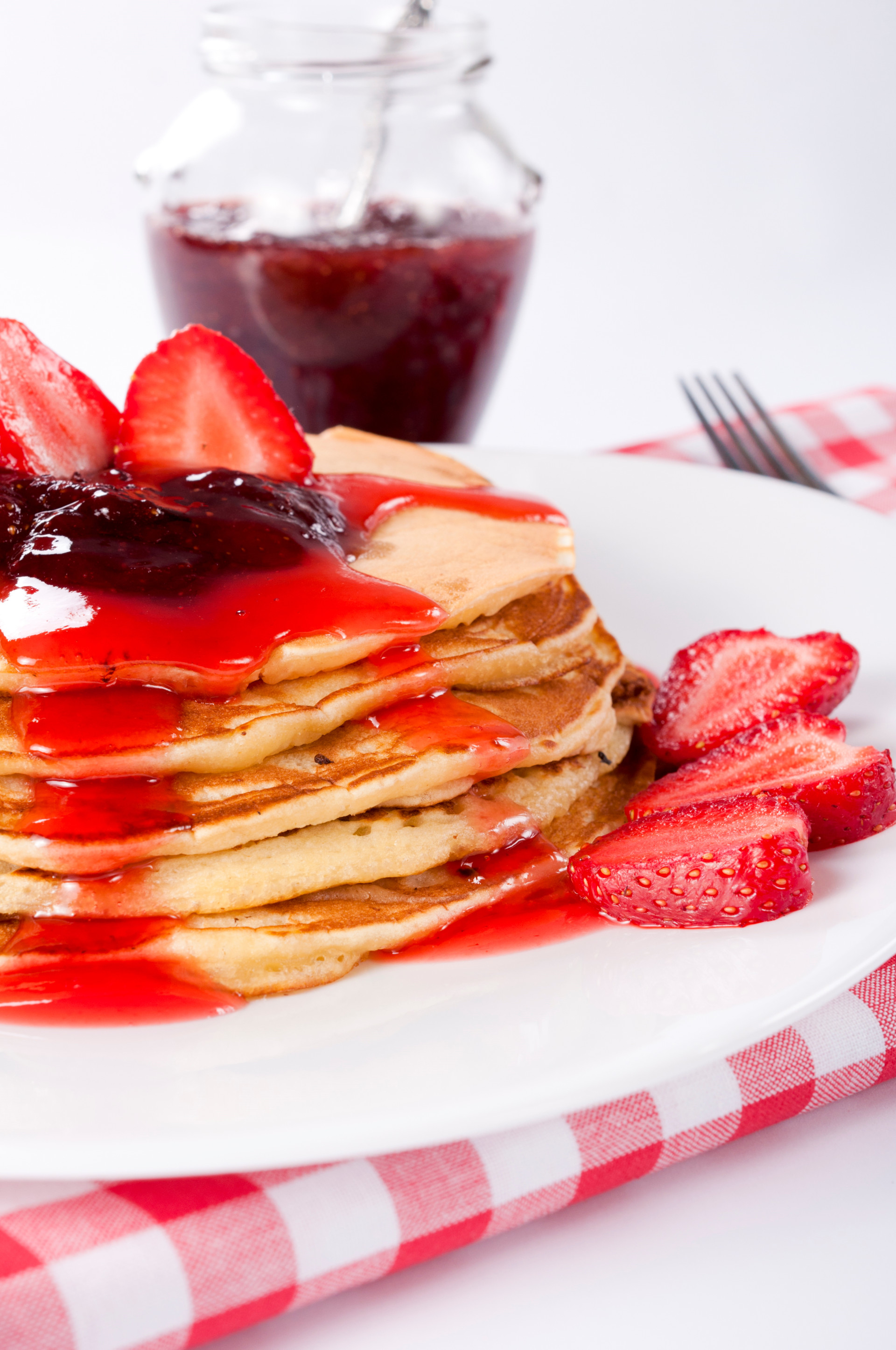 Fluffy Buttermilk Pancakes with Strawberry Preserves