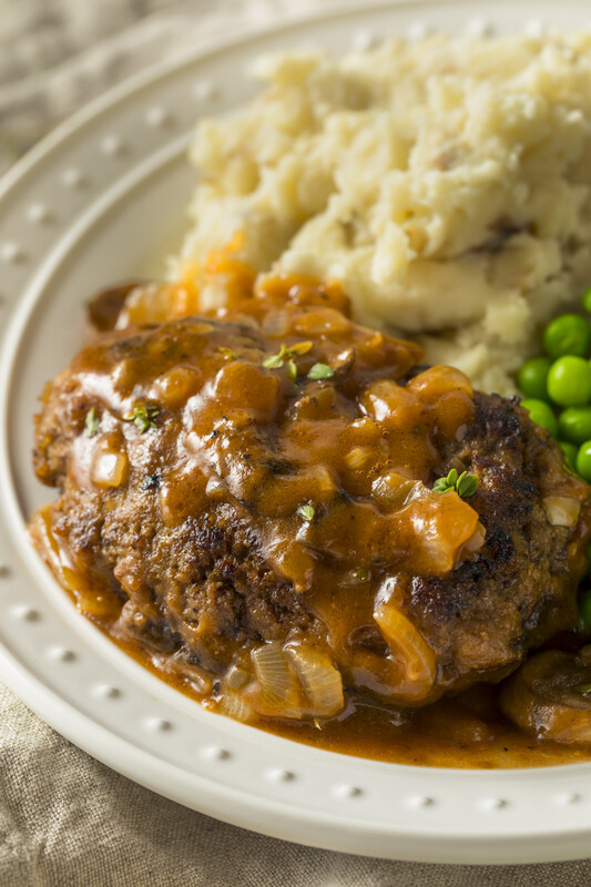 Keep this hamburger steak recipe, it is a keeper.  Juicy results with a delicious beef mushroom gravy that is divine over mashed potatoes.  #misshomemade