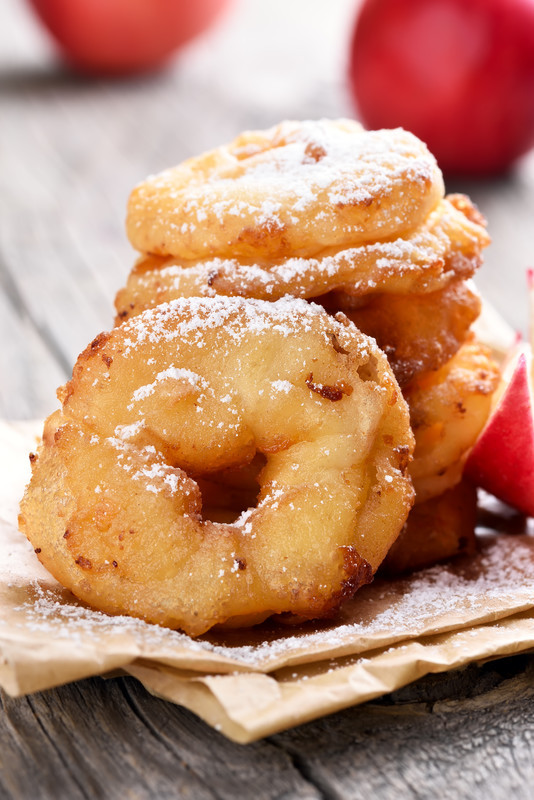 Fried apple rings recipe is the perfect item to pull out during the holidays.  Drizzle with caramel and serve with ice cream, a perfect treat. #misshomemade