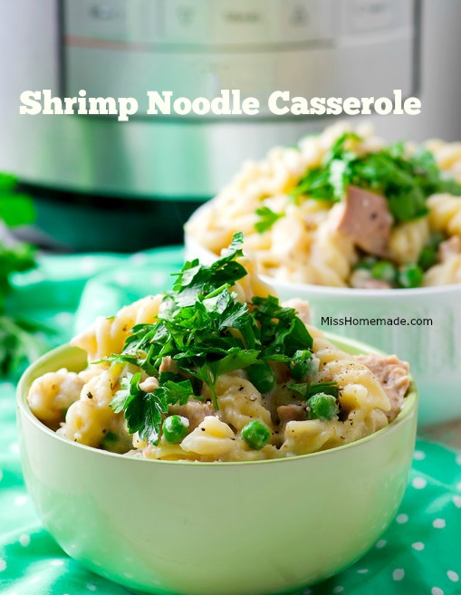 This easy shrimp casserole is a different twist on tuna noodle casserole.  No shrimp?  Try leftover chicken. #misshomemade Thousands of recipes at MissHomemade.com