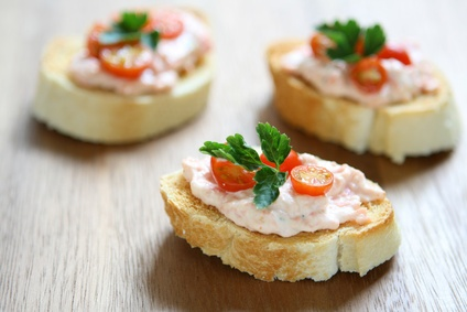 Easy Salmon Dip Spread Recipe - A lovely cream cheese base, crispy bacon, garlic and lemon juice.  I love this served butter garlic toasts. #misshomemade | Thousands of recipes at MissHomemade.com