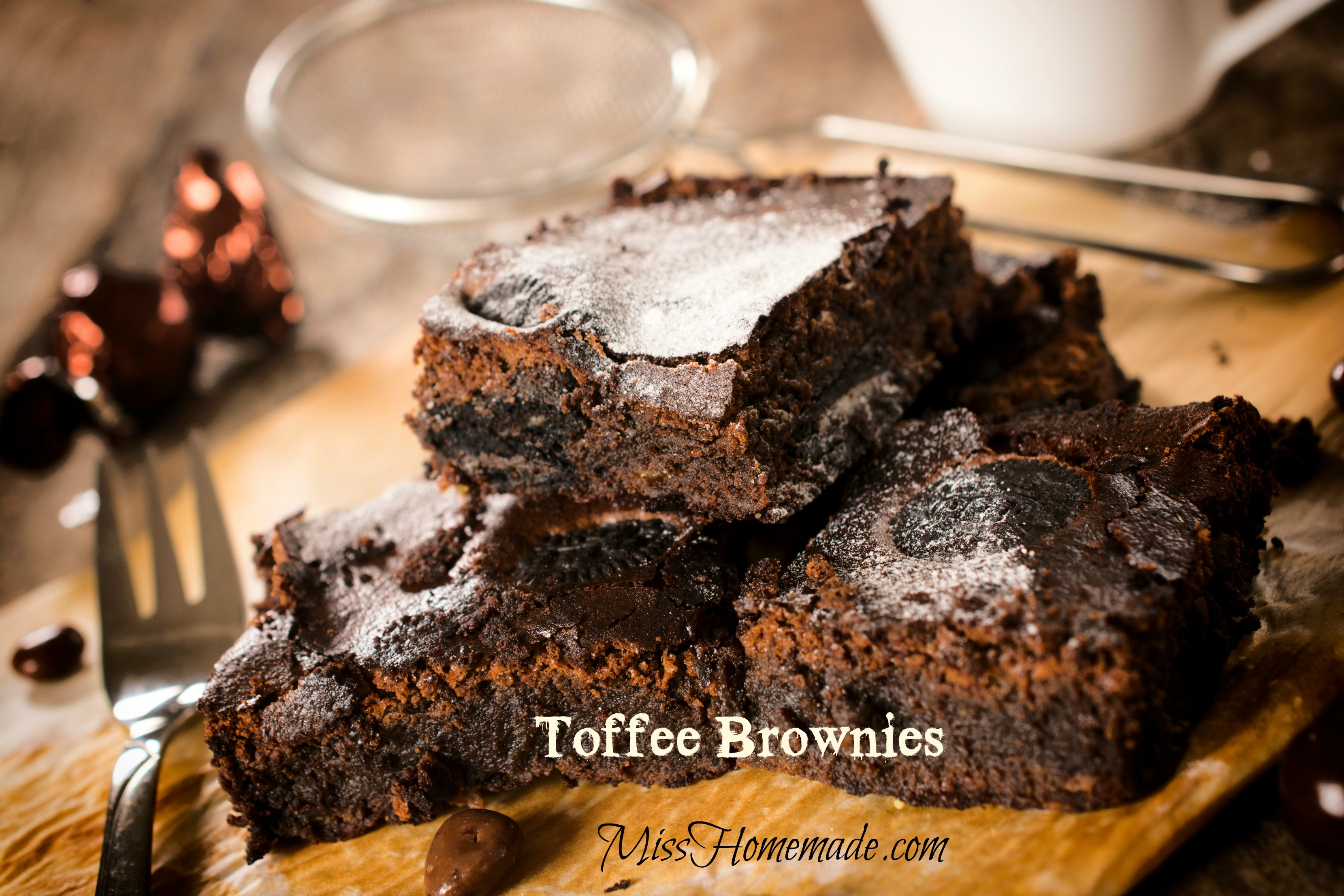Toffee Brownie Recipe - moist brownies layered with Symphony bars.