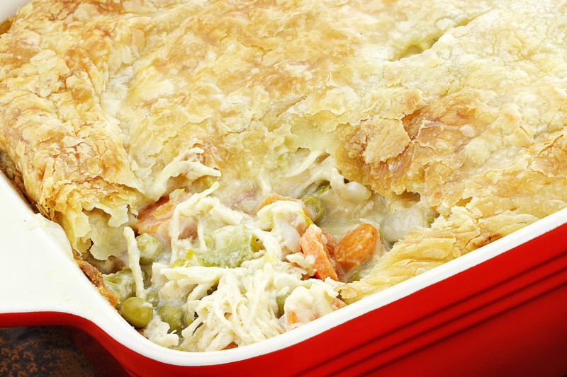 This homemade chicken pot pie (pan) recipe produces a creamy and savory filling with a flaky melt-in-your-mouth crust; comfort food at it's best. #misshomemade