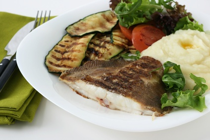 Grilled Flounder with Mashed Potatoes