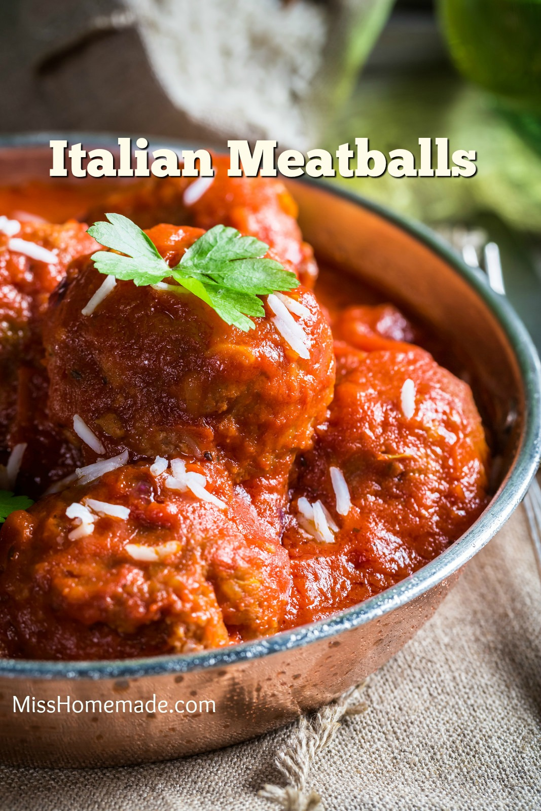 Italian Meatballs - Juicy, seasoned perfectly and so flavorful. Make my homemade sauce to go with them. #misshomemade