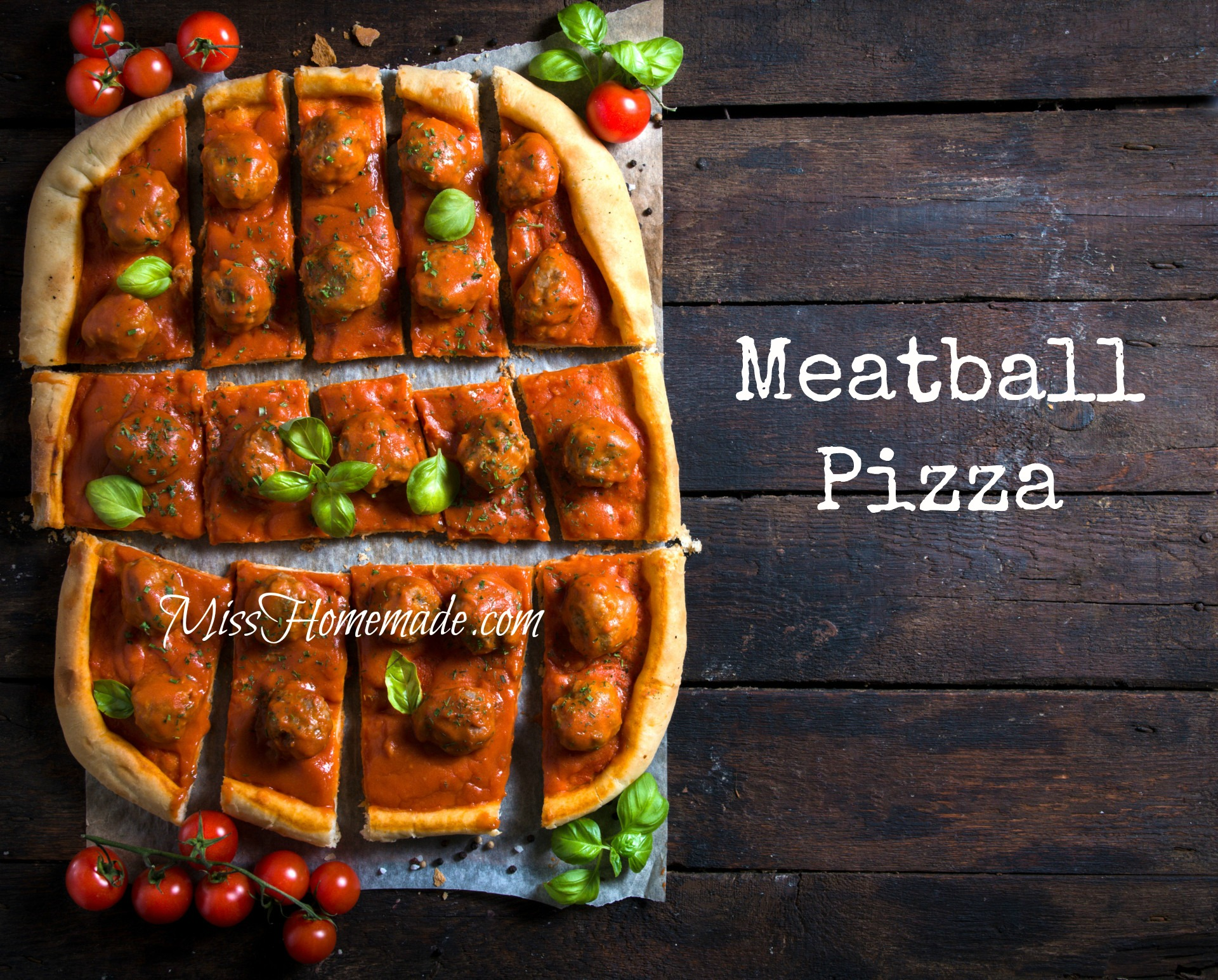 Meatball Pizza Recipe | MissHomemade.com