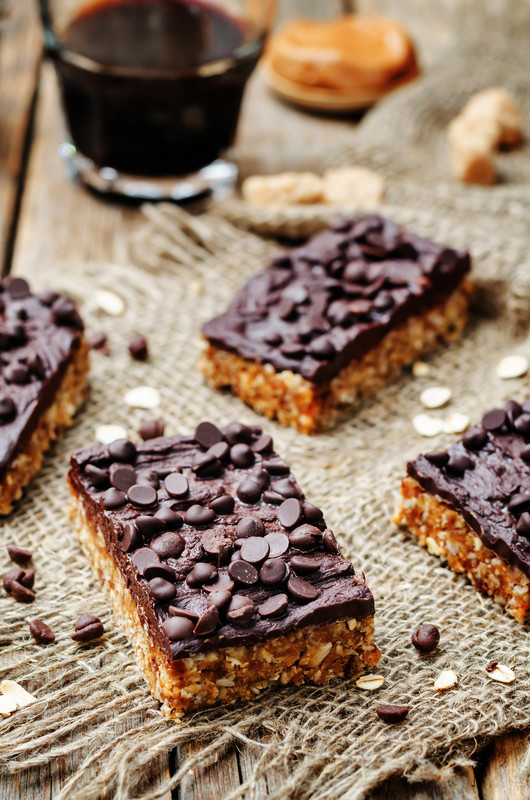 Easy Peanut Butter Bars with a double dose of chocolate.  #misshomemade
