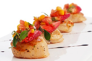 Strawberry Mango Salsa on Scallop