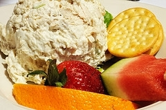 Fresh Pineapple Chicken Salad Recipe - awesome in a sandwich, on crackers or with a spoon... MissHomemade.com #misshomemade