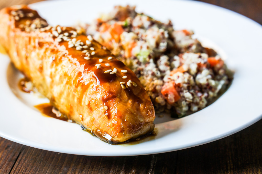 Baked Teriyaki Salmon with Couscous and Vegetables