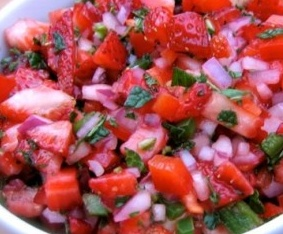 Spicy Strawberry Salsa is excellent on grilled fish #misshomemade