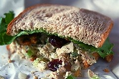 A twist on a traditional recipe: How does Bacon Chicken Salad sound?  I know.  Crunchy, sweet and savory; a perfect salad sandwich. MissHomemade.com #misshomemade
